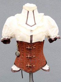 korsett-yourshape-unterbrust-braun-karabiner-flock-steampunk