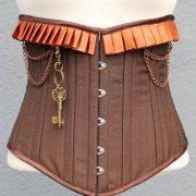 korsett-yourshape-unterbrust-braun-streifen-plissee-steampunk-1